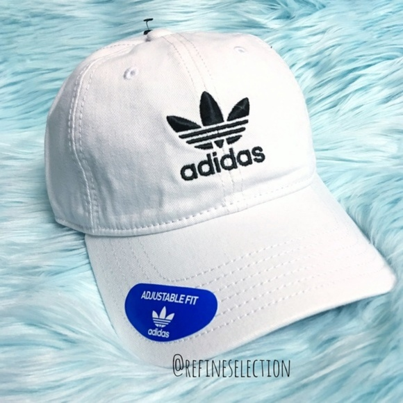 5e82bfc6a7e adidas Trefoil White Relaxed Strapback Dad Hat